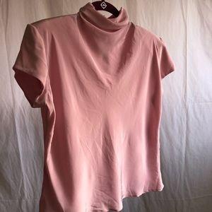 Light Pink Vintage Polyester Top Turtle Neck Crop